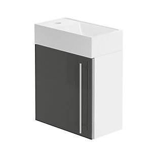 Be Modern Form 400 Hand Basin Unit/White Gloss Graphite Lucido