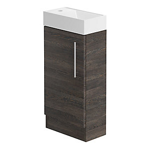 Be Moderrn 400mm Floorstanding Hand Basin Unit - Mali Oak
