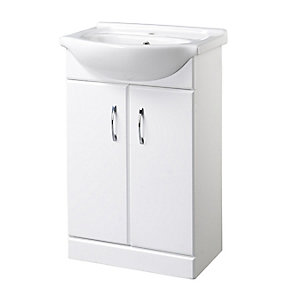 Ceramic White Vanity Bathroom Basin and Unit 560 mm 1 Tap Hole