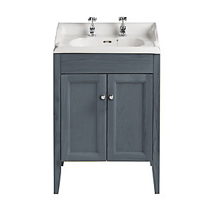 Heritage Caversham Freestanding Dorchester Square Vanity Unit - Graphite