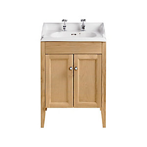 Heritage Caversham Freestanding Dorchester Square Vanity Unit - Oak