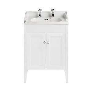 Heritage Caversham Freestanding Dorchester Square Vanity Unit - White Ash