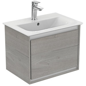 Ideal Standard Philosophy 500mm Wall Hung Vanity Unit 1 Drawer - Gloss White + Matt Light Grey