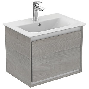 Ideal Standard Philosophy 500mm Wall Hung Vanity Unit 1 Drawer - Wood Light Grey + Matt White