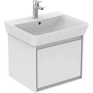 Ideal Standard Philosophy 550mm Cube Basin Unit 1 Drawer - Gloss White + Matt Light Grey