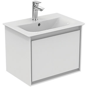 Ideal Standard Philosophy 550mm Cube Basin Unit 1 Drawer - Gloss White + Matt White