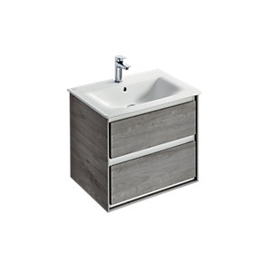 Ideal Standard Philosophy 600mm Wall Hung Vanity Unit 2 Drawers - Gloss White + Matt Light Grey