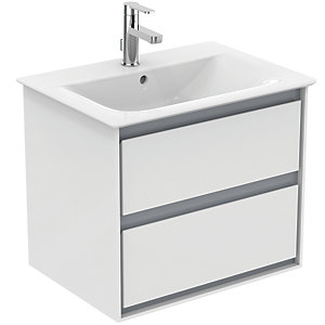 Ideal Standard Philosophy 600mm Wall Hung Vanity Unit 2 Drawers - Gloss White + Matt White