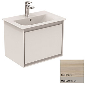 Ideal Standard Philosophy Basin Unit 550mm 1 Drawer - Wood Light Brown & Matt Light Brown