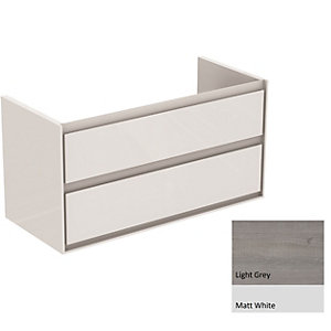 Ideal Standard Philosophy Vanity Unit 1000mm 2 Drawer - Wood Light Grey & Matt White