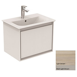 Ideal Standard Philosophy Vanity Unit 500mm 1 Drawer - Wood Light Brown & Matt Light Brown