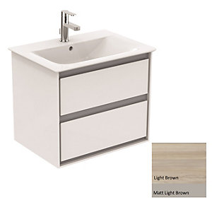 Ideal Standard Philosophy Vanity Unit 600mm 2 Drawer - Wood Light Brown & Matt Light Brown