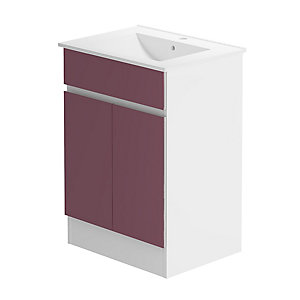 Pure 600 Floorstanding Vanity Unit/W H Gloss Viola