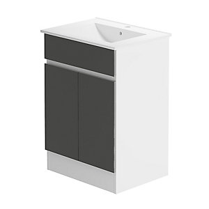 Pure 600 Floorstanding White Gloss & Graphite Lucido Vanity Unit