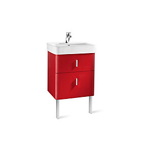 Roca A856591896 Senso Square 2 Drawer Base Unit For Basin Red 550mm