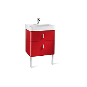 Roca A856592896 Senso Square 2 Drawer Base Unit For Basin Red 600mm