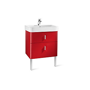 Roca A856593896 Senso Square 2 Drawer Base Unit For Basin Red 650mm