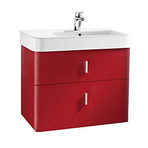Roca A856594896 Senso Square 2 Drawer Base Unit For Right Hand Basin Red 750mm