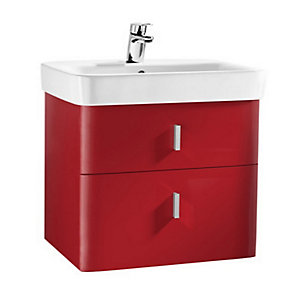 Roca A856597896 Senso Square 2 Drawer Base Unit For Left Hand Basin Red 750mm