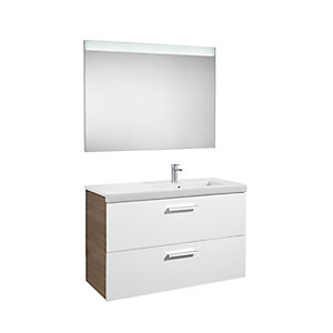 Roca Prisma 2 Drawer Unit Gloss White and Textured Ash 900mm A856883322