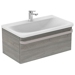Sottini Ideal Standard Tonic II Basin Unit 800mm Light Grey Wood 1 Drawer R4303FE