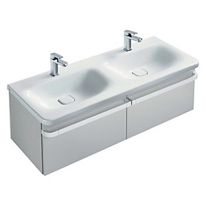 Sottini Tonic II Basin Unit 1200 Gloss Light Grey 2 Drawer