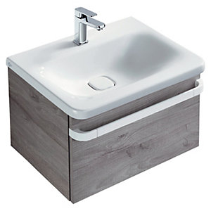 Sottini Tonic II Basin Unit 600mm 1 Drawer - Light Grey Wood