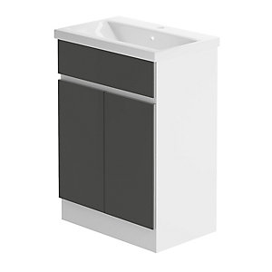 Zest 600mm Floorstanding Vanity Unit - White Gloss & Graphite Lucido