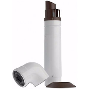 Baxi Multifit Telescopic Horizontal Boiler Flue Including Low Profile Bend 60mm/100mm White