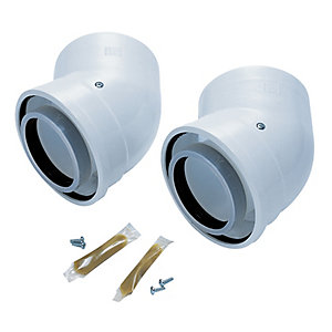 Worcester Bosch Greenstar Oilfit 45 Degree Boiler Flue Elbow 80mm/125mm - 2 Pack