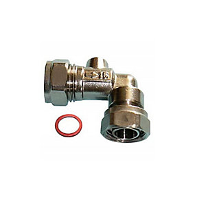 Angled Service Valve Chrome 15mm x 1/2in