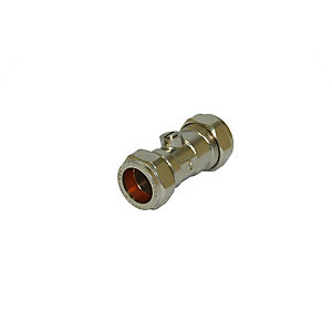 PlumbRight 22mm Straight Isolating Valve Chrome