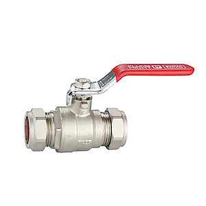 PlumbRight 28mm Lever Ball Valve Cxc Red Handle