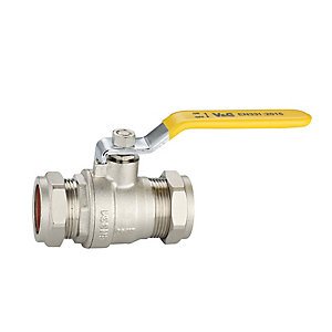 PlumbRight 28mm Lever Ball Valve Cxc Yellow Handle