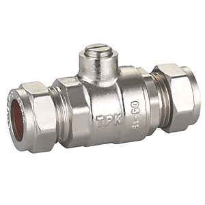 PlumbRight Straight Isolating Valve Full Flow 15mm Chrome