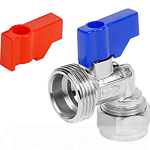 PlumbRight Washing Machine Chrome Angled Valve 15 mm x 3/4""
