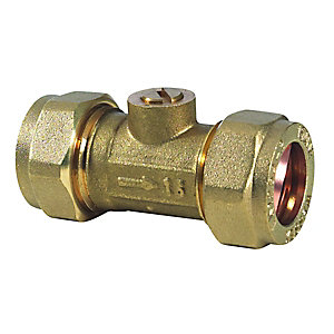 Straight Isolating Valve 15mm Brass