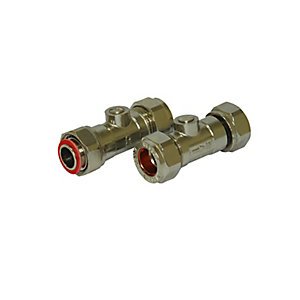 Straight Service Valve Chrome 15mmx1/2in