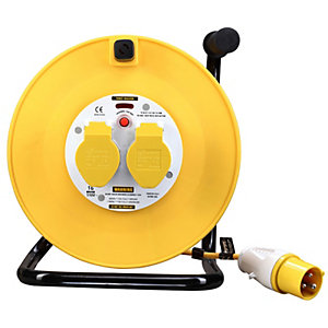 Masterplug 110V 50m 2 Gang Cable Reel with Thermal Cutout - LVCT5016/2