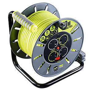 Masterplug OLU50134SL-PX Pro-xt 240V 13A 4 Gang Open Cable Reel with Thermal Cut Out and Reset Button