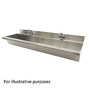 Acorn Thorn 305-2400-C-S Wash Trough Wall Mounted 2400 Centre Waste 1 Tap Hole Per User Stainless Steel