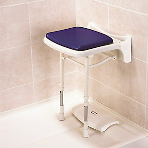 Akw 02200P 2000 Series Compact Fold Up Shower Seat & Pad Blue