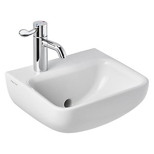 Armitage Shanks Contour 21+ Basin 40cm with Smartguard+, White, 1 Left Hand Tap Hole, Back Outlet
