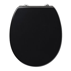 Armitage Shanks Contour 21 Black Toilet Seat and Cover with Bottom Fix Hinges S405866