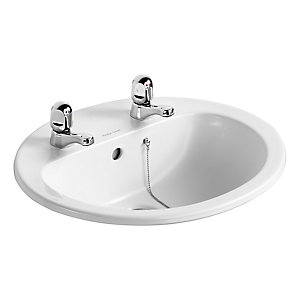 Armitage Shanks Orbit 21 Countertop Basin 2 Tap Holes 550 mm 248801