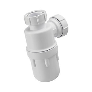 "Armitage Shanks Urinal Waste Bottle Trap 1½"" plastic bottle with 75mm seal, multi-purpose outlet S891567"