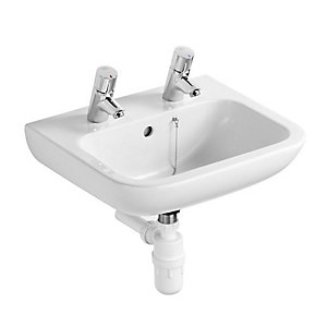 Ideal Standard S269101 Contour 21 Basin Splash 500 x 400mm 2 Tap Hole White