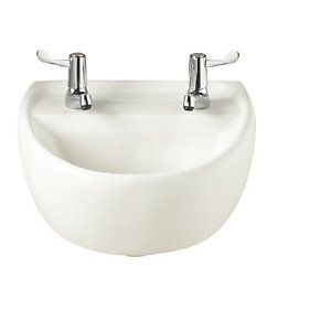 TWYFORD SOLA WHITE MEDICAL BASIN 400MM 2 TAP HOLE