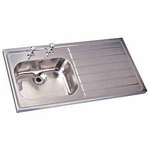 TWYFORD STAINLESS STEEL SINK SNGL BWL & RH DRAIN 2TH