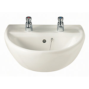 Twyford Sa4112Wh Sola 2 Tap Hole 400mm Basin White